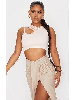 PrettyLittleThing crepe front cut out detail crop top