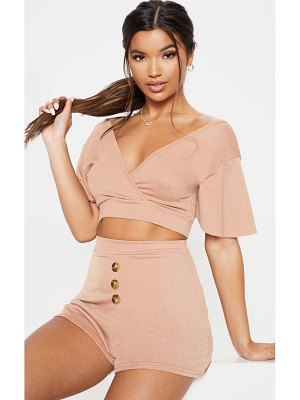 PrettyLittleThing crepe plunge frill sleeve crop blouse