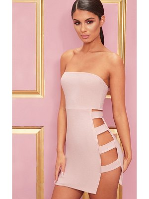PrettyLittleThing crepe  split side bandeau bodycon dress