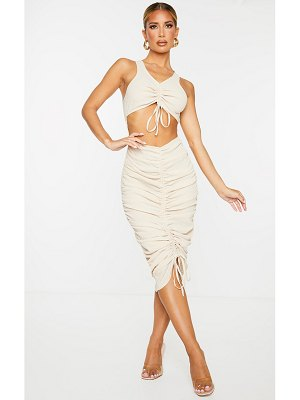 PrettyLittleThing crinkle cut out ruched sleeveless midaxi dress