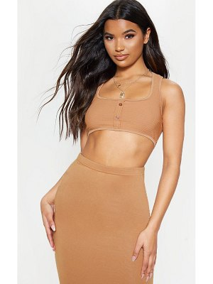 PrettyLittleThing crinkle scoop neck sleeveless crop top
