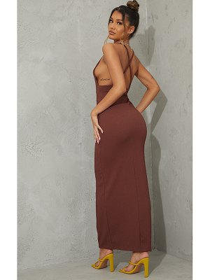PrettyLittleThing crinkle strappy cross back maxi dress