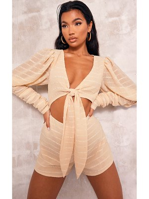 PrettyLittleThing crinkle stripe ruched sleeve tie front romper