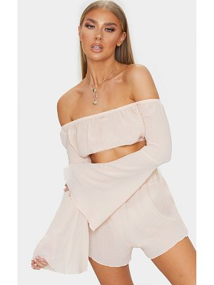 PrettyLittleThing crinkle textured bardot flare sleeve beach top