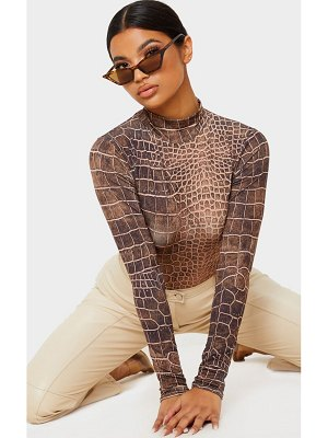PrettyLittleThing croc printed slinky high neck long sleeve top
