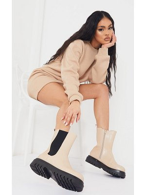 PrettyLittleThing croc pu calf high chelsea boots