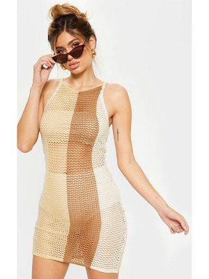 PrettyLittleThing crochet striped detail knitted dress