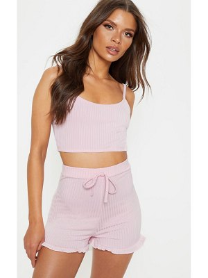 PrettyLittleThing crop cami and frill short rib pj set