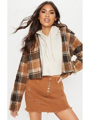 PrettyLittleThing cropped checked borg jacket