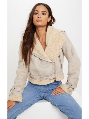 PrettyLittleThing cropped faux suede aviator jacket