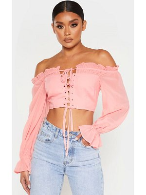 PrettyLittleThing cropped lace front long sleeve blouse