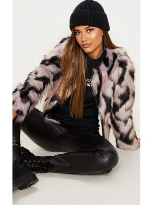 PrettyLittleThing cropped multi faux fur coat