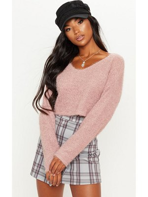 PrettyLittleThing cropped oversized eyelash sweater