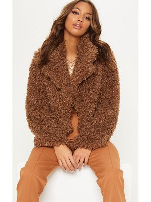 PrettyLittleThing cropped teddy faux fur coat