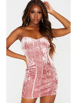 PrettyLittleThing crushed velvet binding detail bandeau bodycon dress
