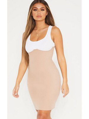 PrettyLittleThing cup detail contrast ribbed bodycon dress