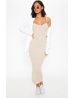 PrettyLittleThing cup detail rib midi dress
