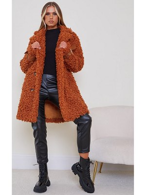 PrettyLittleThing curly faux fur coat