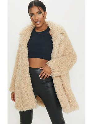 PrettyLittleThing curly faux fur lapel coat