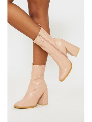 PrettyLittleThing curved toe block heel ankle boot