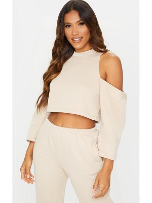 PrettyLittleThing cut out shoulder cropped long sleeve sweatshirt