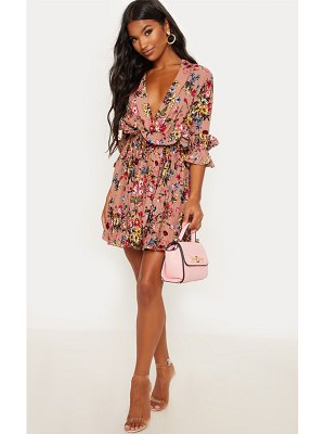 PrettyLittleThing dark nude floral frill detail pleated skater dress