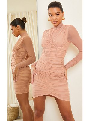 PrettyLittleThing dark nude high neck mesh ruched binding detail bodycon dress