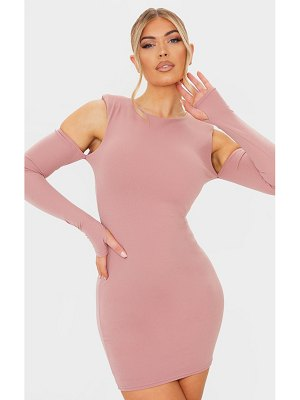PrettyLittleThing dark nude shoulder pad cold shoulder thumb hole bodycon dress