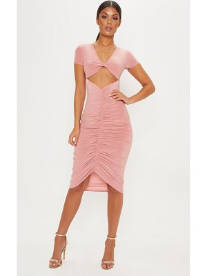 PrettyLittleThing dark rose cut out ruched front midi dress