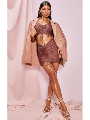 PrettyLittleThing deep rose slinky ruched seam front tie detail mini skirt