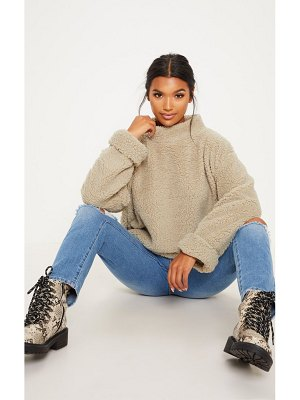 PrettyLittleThing deep stone high neck borg sweater