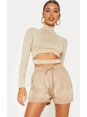 PrettyLittleThing deep stone jersey open front long sleeve crop top