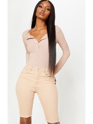PrettyLittleThing deep stone long sleeve rib popper bodysuit