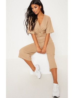 PrettyLittleThing deep stone ribbed twist detail culotte jumpsuit