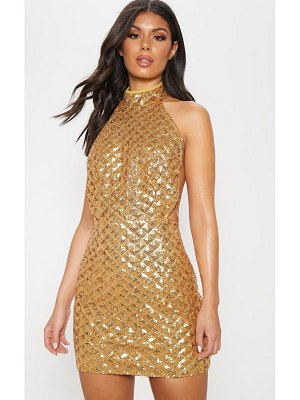PrettyLittleThing diamond sequin chain back bodycon dress