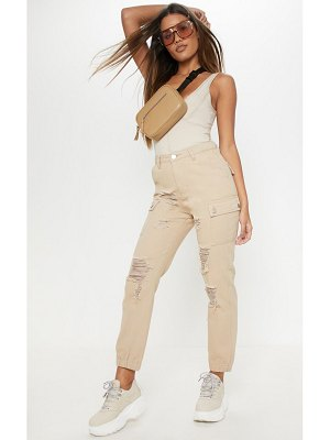 PrettyLittleThing distressed cargo pocket jeans