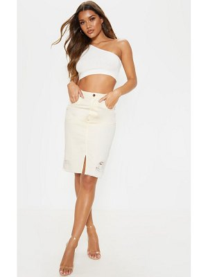 PrettyLittleThing distressed hem midi denim skirt