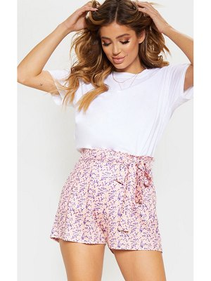 PrettyLittleThing disty floral print ruched tie waist short