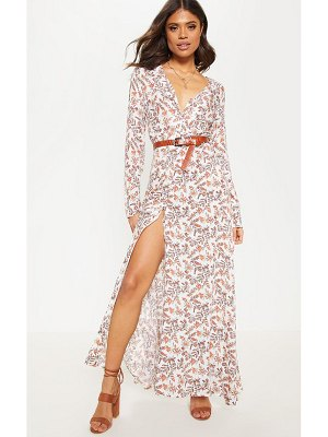PrettyLittleThing ditsy floral button front maxi dress