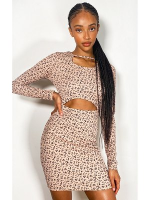 PrettyLittleThing ditsy floral print cut out long sleeve rib bodycon dress