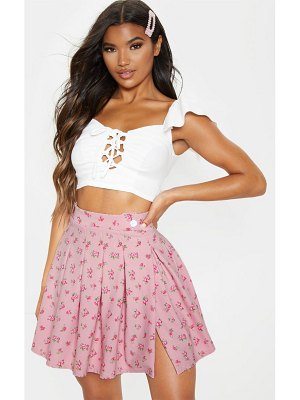 PrettyLittleThing ditsy floral print pleated split side tennis skirt