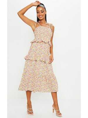 PrettyLittleThing ditsy floral ruffle tie shoulder midi dress