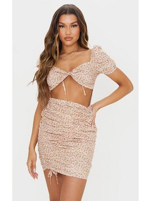 PrettyLittleThing ditsy print ruched skirt puff sleeve bodycon dress