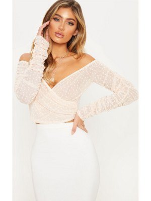 PrettyLittleThing dobby mesh ruched sleeve bardot crop top