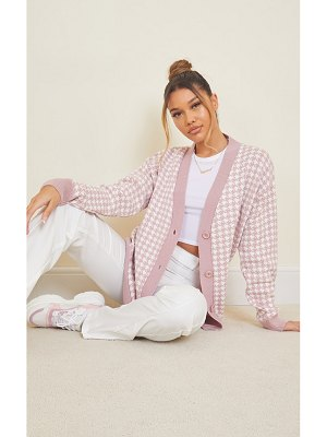 PrettyLittleThing dogstooth knitted pocket cardigan