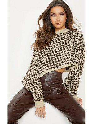 PrettyLittleThing dogtooth knitted cropped sweater