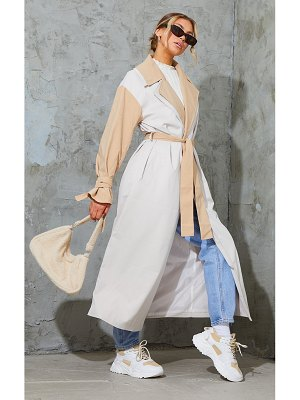 PrettyLittleThing double layer lapel midi belted trench