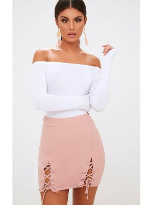 PrettyLittleThing double split lace up mini skirt