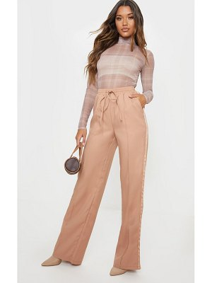 PrettyLittleThing drawstring waist satin side stripe pants