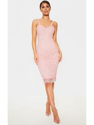 PrettyLittleThing dusty pink lace midi dress